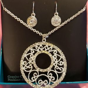Genuine Crystal Necklace & Earring Set, New in Box